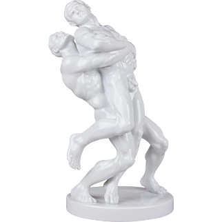 Herend Large Art Deco Olympic Wrestlers Statue