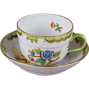 Herend Queen Victoria Coffee Mocha Cup with Saucer
