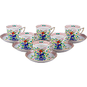 Set of Six Herend Oriental Song Pattern Tea Cups With Saucers