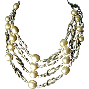 Signed Miriam Haskell Simulated Pearl and Metal Necklace 17""