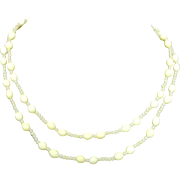 Signed Miriam Haskell Milk Glass Bead Necklace 28""