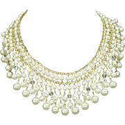 JAPAN Faux Pearl Strands Choker Gold Tone 15""