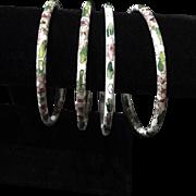 Set of 4 Cloisonné Bracelet White Flower Print