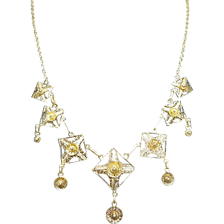 Vintage Gold colored Filigree Necklace Early 20th Century