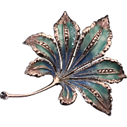 Signed Alice Caviness Leaf Brooch Pin Made in Germany Sterling Silver 925