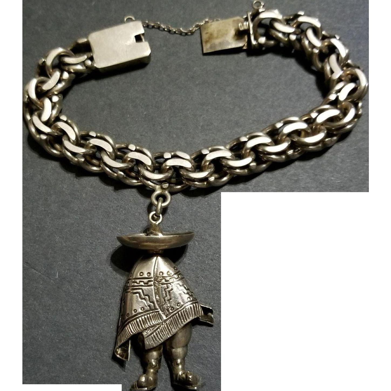 Mexican Sterling Silver Sombrero Man, silver 900 Bracelet