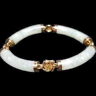 Asian Nephrite Jade and 14k Yellow Gold Bracelet