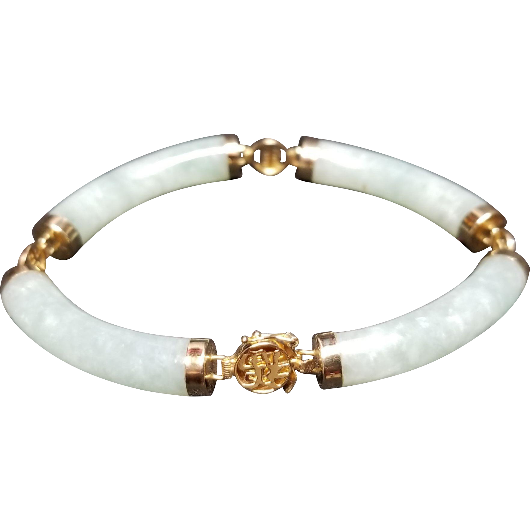 Asian Nephrite Jade and 14k Yellow Gold Bracelet