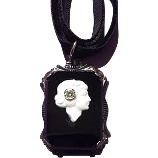 1940s Cameo Necklace Sterling Vintage