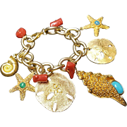 Signed Les Bernard ocean theme charm bracelet
