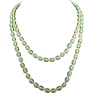 Sandra David Signed Green and Gold colored Necklace Vintage 1950s
