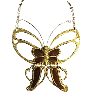 Mr. We Signed Orange and Golden colored Butterfly Necklace 1960-70s