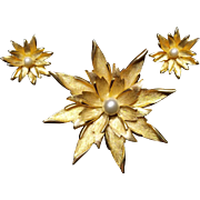 1960s Golden colored Flower with faux Pearl Earrings and Brooch set