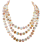 """Unsigned Pink Glass Beaded Necklace 48"""" Strand 1960s"""