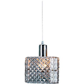 Triangular Mid-Century Modern Chrome and Prismatic Glass Pendant, circa 1960