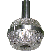 Mid-Century Modern Round Glass and Chrome Pendant from Italy, circa 1960