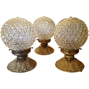 Vintage European Brass Flushmount Lights with Clear Textured Glass Globes, circa 1950's