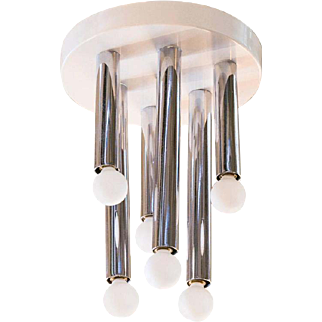 Mid-Century Modern Chrome Ceiling Mount Fixute with 6 Lights