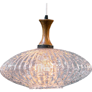 Mid-Century Modern Hand-Blown Bubble Glass & Teak Pendant from Italy, circa 1960