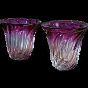 Pair of Magenta Val Saint Lambert Blown Glass Vases from Belgium, circa 1960's