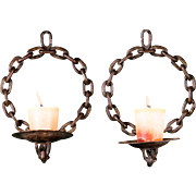 Pair of Handcrafted Iron Chain Link Candle Wall Sconces from Belgium, circa 1930