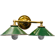 Brass Wall Sconce with Green Enamel Downward Facing Shades, circa 1920