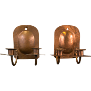 Pair of American Hand-Hammered Copper Arts and Crafts Candle Sconces, circa 1920