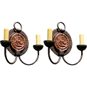 Pair of Vintage Iron Sconces with Medallion Backplate and Two Arms from Belgium, circa 1940