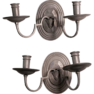 Pair of Vintage Art Deco Style Pewter Candle Sconces from Italy, circa 1960
