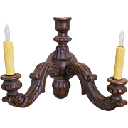 Pair of Vintage Belgian Hand-Carved Oak Wood Sconces with Two Arms in the Rococo Style