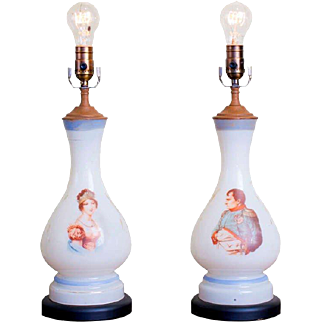 Pair of Hand-blown, Hand-Painted, Antique Milk Glass Napoleon and Josephine Table Lamps