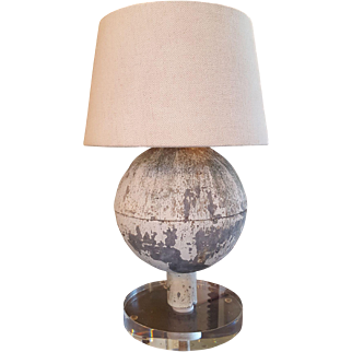 Vintage Painted Zinc Table Lamp with Lucite Base and Linen Shade