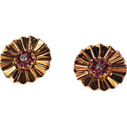 Retro 14k Pink Gold .84ct Ruby and Diamond Clip Earrings