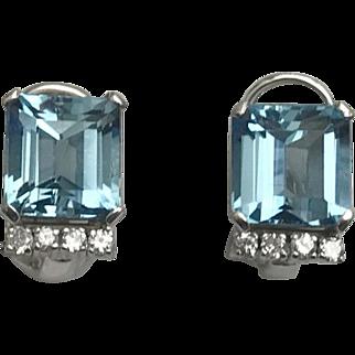 Mid Century Aquamarine & Diamond 18kt White Gold Earrings