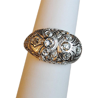 Fabulous Filigree Edwardian Platinum and Diamond Ring