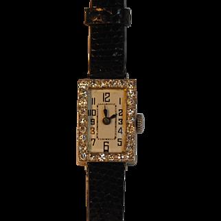 Art Deco Platinum and Diamond Watch Swiss Movement