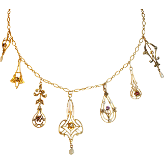 One of a Kind Victorian and Art Nouveau Necklace with Seven Lavalier Pendants