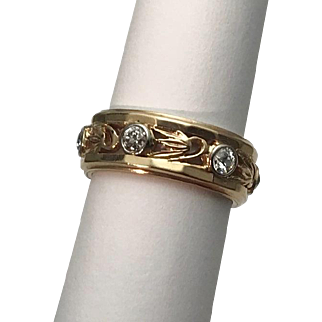 Art Nouveau 7mm Wide 14k YG .60ctw Wide Diamond Wedding Band