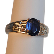Estate Platinum 1.63 carat Sapphire and Diamond Baguette Ring