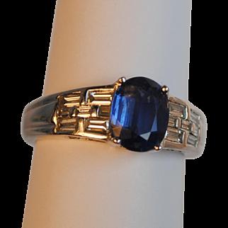 Estate Platinum 1.63 carat Sapphire and Diamond Baguette Ring