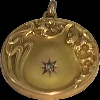 Art Nouveau Antique Wedding Locket Belle Epoque Victorian 10kt with Diamond