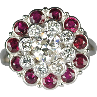 Estate 14kt .91 carat Diamond & Ruby Princess Ring