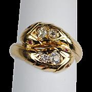 Victorian 14kt Diamond Double Snake Ring