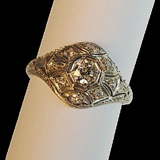 Art Deco Platinum Diamond Engagement Ring .49ctw.