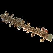 Victorian Stick Pin Link Charm Bracelet 14kt
