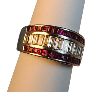 Amazing Retro (1940's) French Cut Burmese Ruby and Diamond Platinum Wide Band