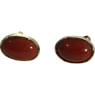 18k Gold Ox Blood Coral Earring Studs