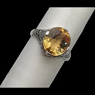 Estate 4.35 Carat Natural Imperial Topaz 14kt White Gold Filigree Ring
