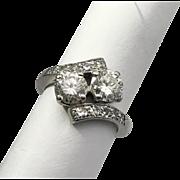 Art Deco Diamond Bypass Ring Platinum Vintage European Cut 1.68ctw.