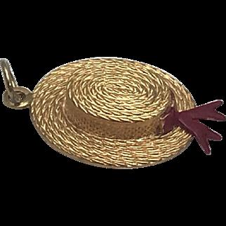 18K Vintage 3D Straw Hat with Enamel Ribbon Charm/Pendant Yellow Gold